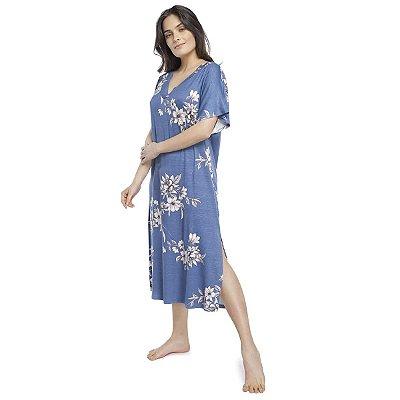 Camisão Feminino Midi com Fenda Azul Max Garden