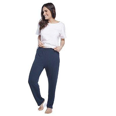 Calça Feminina Comfy Azul Marinho com Bolso