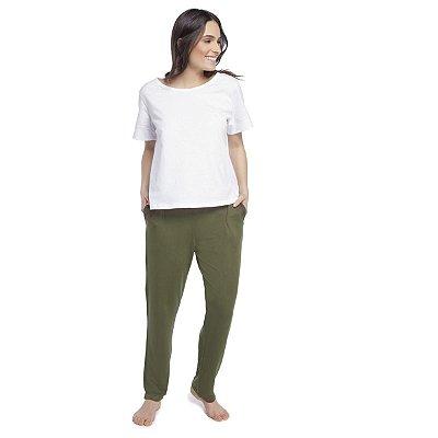 Calça Feminina Comfy Verde Militar com Bolso