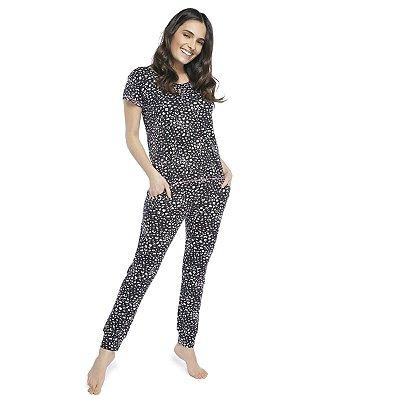 Pijama Feminino com Bolso e Punho Oncinha Colors