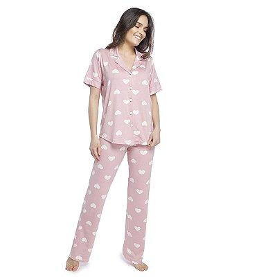 Pijama Feminino Aberto com Gola Esporte Rosa Hearts
