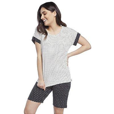 Pijama Feminino Bermudol Poá Off White