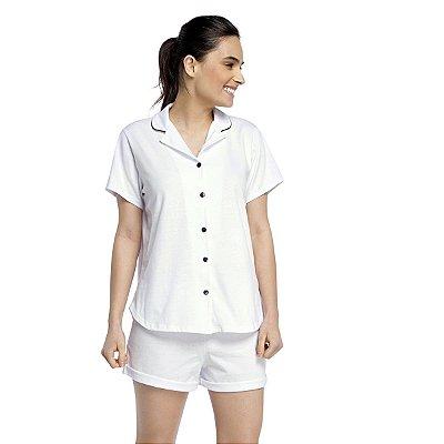 Pijama Feminino Curto Aberto com Gola Esporte Branco