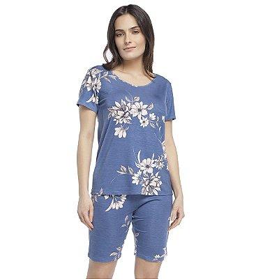 Pijama Curto Feminino Azul Max Garden