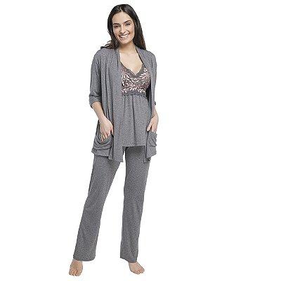 Pijama Feminino Triplex Gestante Mescla Escuro com Renda Rosê