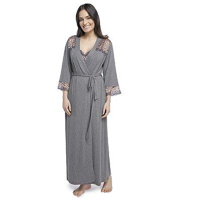 Robe Feminino Longo Mescla Escuro com Renda Rosê