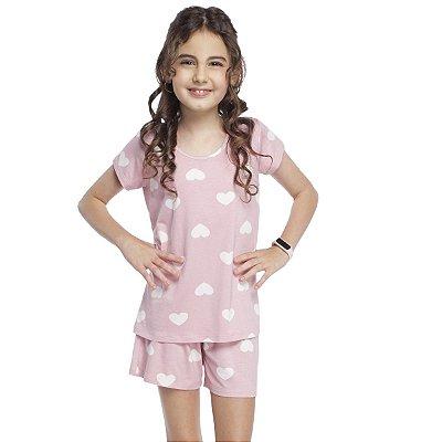 Pijama Feminino Infantil Curto Rosa Hearts
