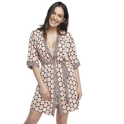 Robe Feminino Curto de Poliamida Maxi Poá Rosa