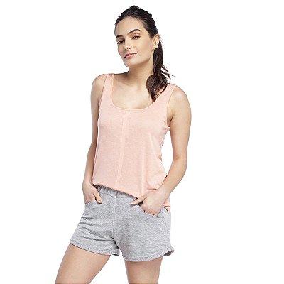 Pijama Feminino Curto Regata com Bolso Rosê e Mescla