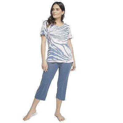 Pijama Feminino Capri Azul Fantasy