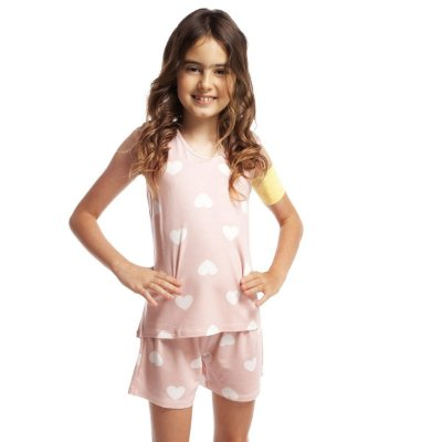 Short Doll Infantil Regata Rosa Hearts