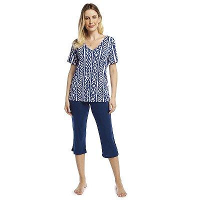 Pijama Feminino Capri Geométrico Origami