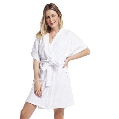 Robe Feminino Curto Plush Jacquard Poá Branco