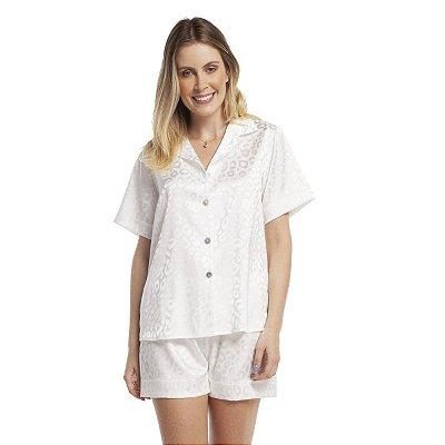 Pijama Feminino Curto Aberto Satin Jacquard Onça Off White