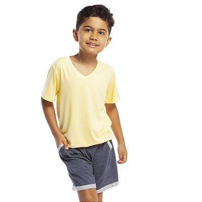 Pijama Infantil Masculino Curto com Bolso Amarelo e Jeans