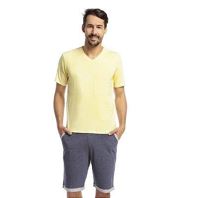Pijama Masculino Curto com Bolso Amarelo e Jeans
