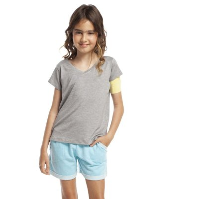 Pijama Infantil Feminino Curto Atolhado com Bolso Turquesa