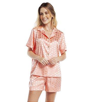 Pijama Feminino Curto Aberto Satin Jacquard Poá Salmão