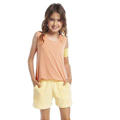 Short Doll Infantil com Regata e Bolso Laranja e Amarelo