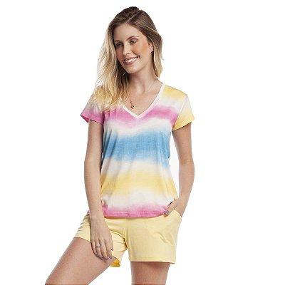 Pijama Feminino Curto com Bolso Ombrê Colors