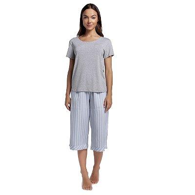 Pijama Feminino Pantacourt Listra Blue