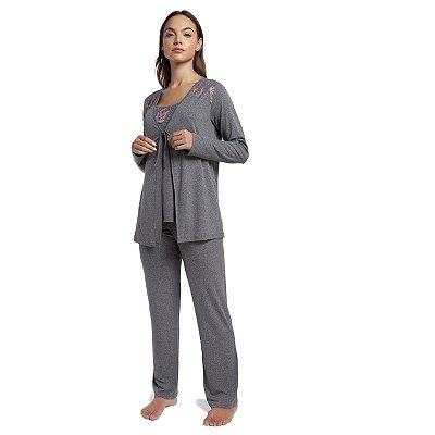 Pijama Feminino de Inverno Triplex Gestante Mescla Escuro com Renda Rosê