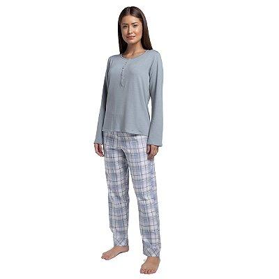 Pijama Feminino de Inverno com Polo Xadrez Blue