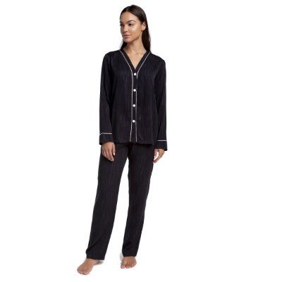 Pijama Feminino Aberto de Inverno Risca de Giz