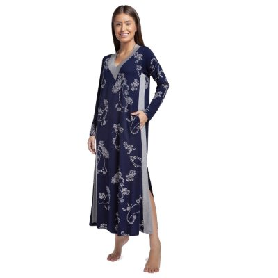 Camisão Feminino Longo com Bolso Azul Paisley