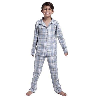 Pijama Masculino Infantil Aberto de Inverno Xadrez Blue
