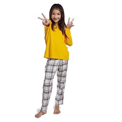 Pijama Feminino Infantil de Inverno Xadrez Yellow