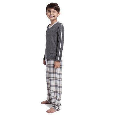 Pijama Masculino Infantil de Inverno Mescla e Xadrez Yellow