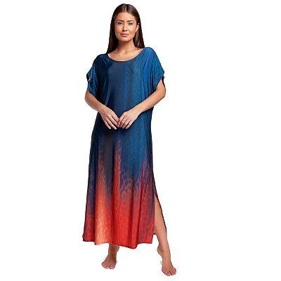 Kaftan Longo Feminino Azul e Vermelho Ombrê com Fenda