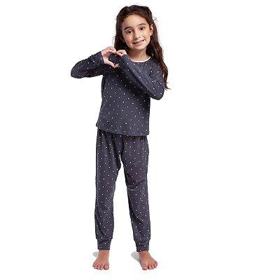 Pijama Infantil Feminino de Inverno Calcário Dots
