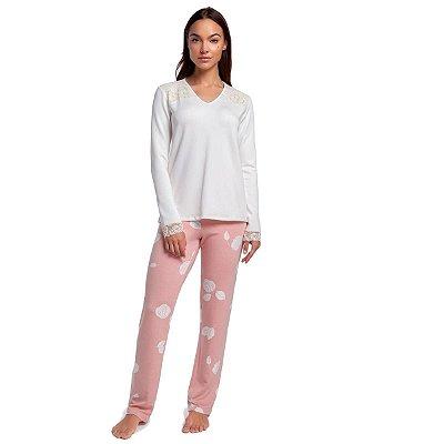 Pijama Feminino de Inverno Rosê Floral com Blusa Off White e Renda