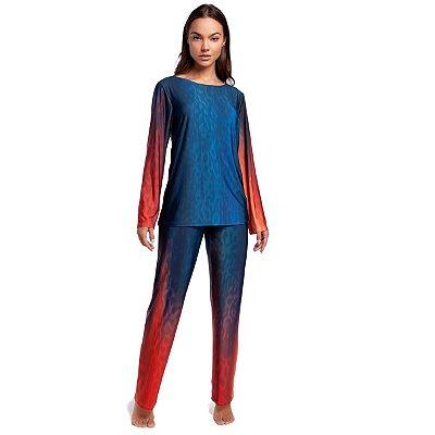 Pijama Feminino de Inverno Azul e Vermelho Ombrê
