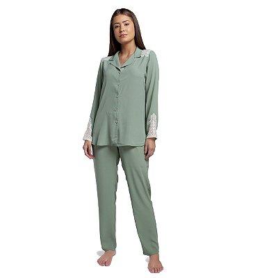 Pijama Feminino Aberto Satin Verde Stone com Renda