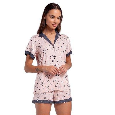 Pijama Feminino Curto Aberto Stars Rosê
