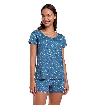 Pijama Feminino Curto Azul Constelação