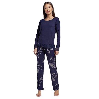 Pijama Feminino de Inverno Azul Paisley com Renda