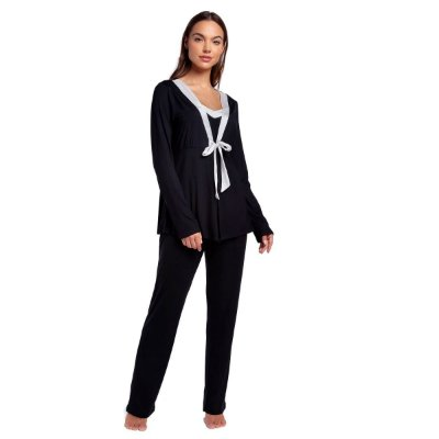Pijama Feminino de Inverno Triplex Preto com Cetim Off White