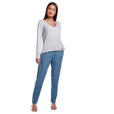 Pijama Feminino de Inverno Azul Constelação com Blusa Cinza