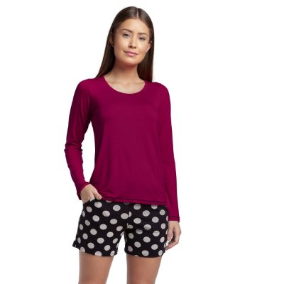Pijama Feminino Curto de Manga Longa Vinho e Poá