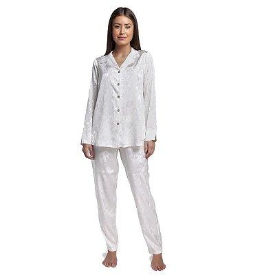 Pijama Feminino Aberto de Manga Longa Jacquard Floral Off White