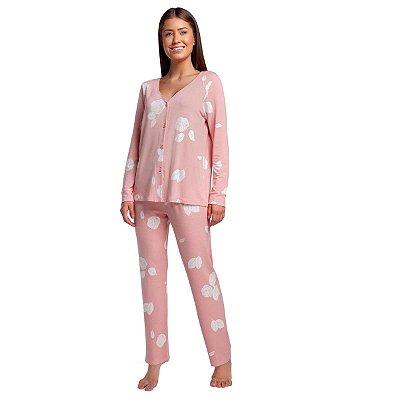 Pijama Feminino de Inverno Aberto Rosê Floral