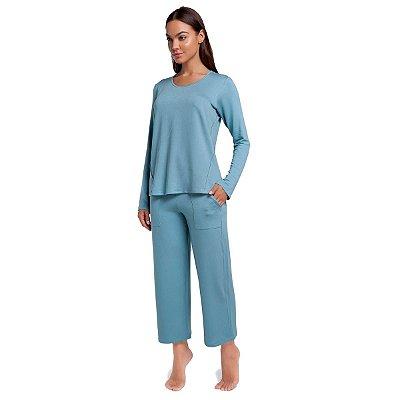 Pijama Feminino de Inverno Azul Cerâmica com Bolso