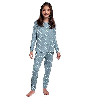 Pijama Infantil Feminino de Inverno com Punho Poá Blue Moon