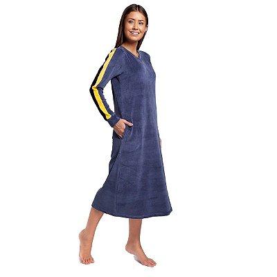 Camisão Feminino Midi Plush Azul Jeans com Bolso