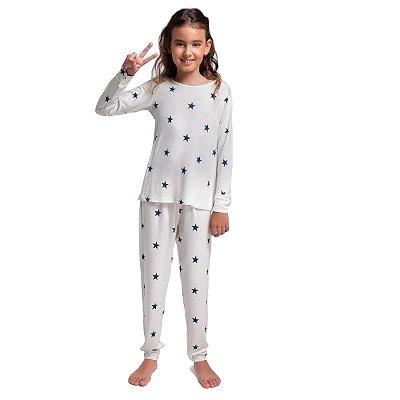Pijama Infantil Feminino de Inverno Stars Blue