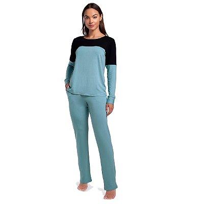 Pijama Feminino de Inverno com Bolso Azul Cerâmica